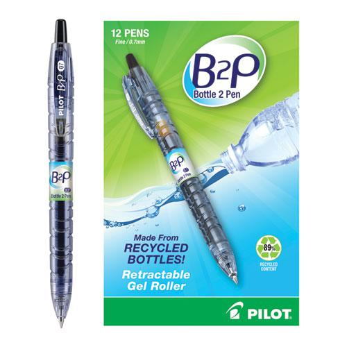 B2P Bottle-2-Pen Recycled Retractable Gel Pen, 0.7mm, Black Ink, Translucent Blue Barrel