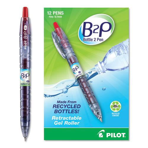 B2P Bottle-2-Pen Recycled Retractable Gel Pen, 0.7mm, Red Ink, Translucent Blue Barrel. Picture 1
