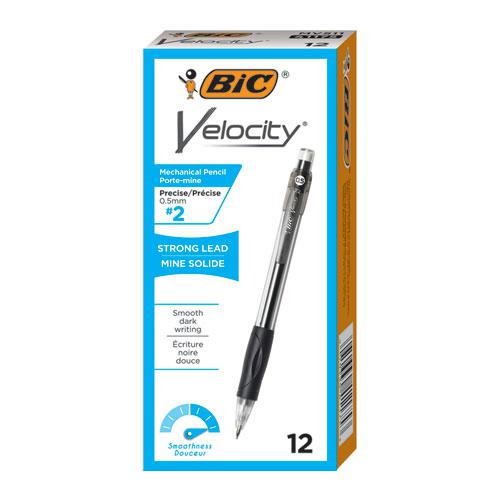 Velocity Original Mechanical Pencil, 0.5 mm, HB (#2.5), Black Lead, Black Barrel, Dozen. Picture 2