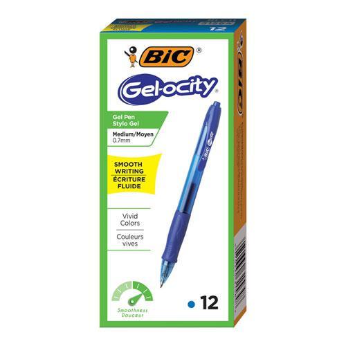Gel-ocity Gel Pen, Retractable, Medium 0.7 mm, Blue Ink, Translucent Blue Barrel, Dozen. Picture 2