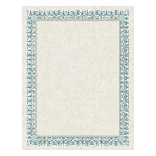 Parchment Certificates, Academic, Ivory with Green and Blue Border, 8 1/2 x 11, 25/Pack. Picture 1