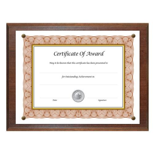 Award-A-Plaque Document Holder, Acrylic/Plastic, 10-1/2 x 13, Walnut. Picture 1