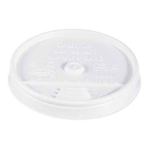 Plastic Lids, for 16oz Hot/Cold Foam Cups, Sip-Thru Lid, White, 1000/Carton. Picture 1