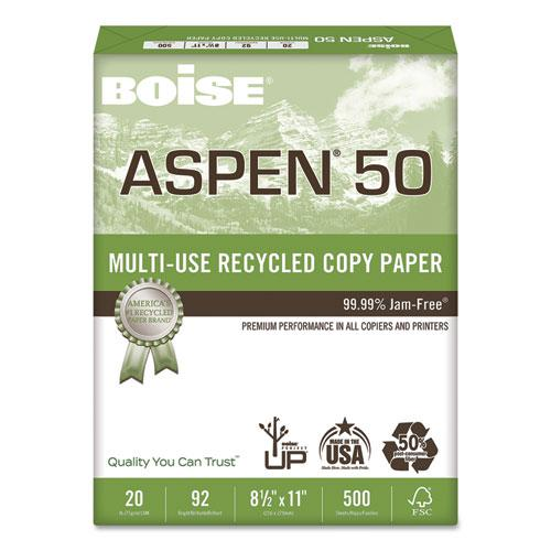 ASPEN 50 Multi-Use Recycled Paper, 92 Bright, 20lb, 8.5 x 11, White, 500 Sheets/Ream, 10 Reams/Carton. Picture 1