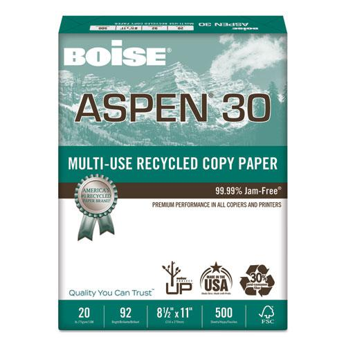 ASPEN 30% Recycled Multi-Use Paper, 92 Bright, 20lb, 8 1/2 x 11, White, 5000/CT. Picture 1