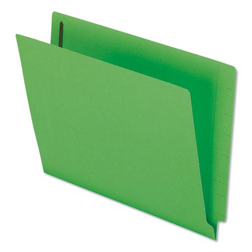 Colored Reinforced End Tab Fasteners Folders, Straight Tab, Letter Size, Green, 50/Box. Picture 1