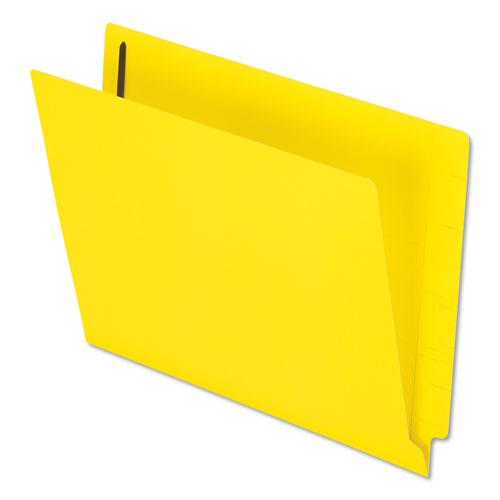 Colored Reinforced End Tab Fasteners Folders, Straight Tab, Letter Size, Yellow, 50/Box. Picture 1
