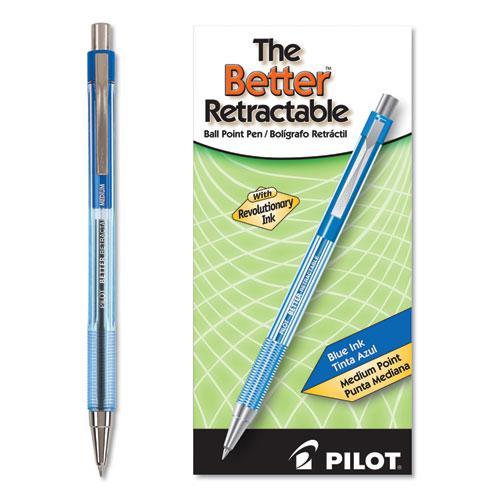 Better Ballpoint Pen, Retractable, Medium 1 mm, Blue Ink, Translucent Blue Barrel, Dozen. Picture 1