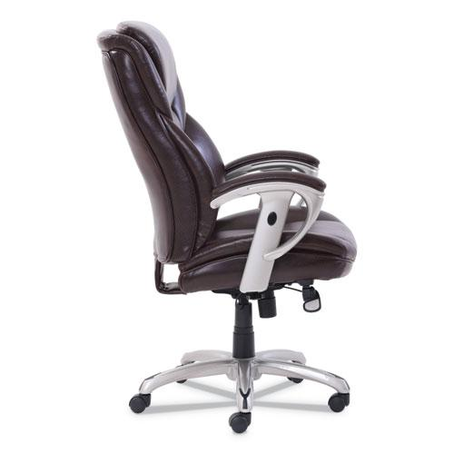 Emerson Executive Task Chair, Supports up to 300 lbs., Brown Seat/Brown Back, Silver Base. Picture 3