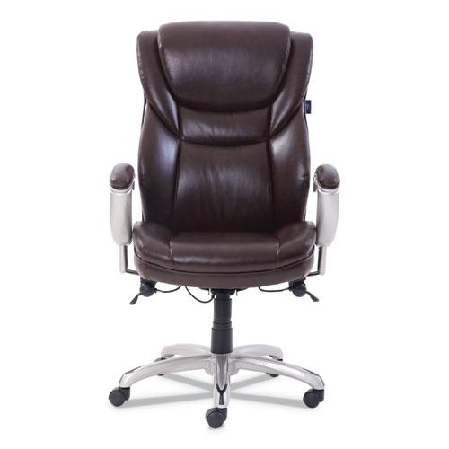 Emerson Executive Task Chair, Supports up to 300 lbs., Brown Seat/Brown Back, Silver Base. Picture 2