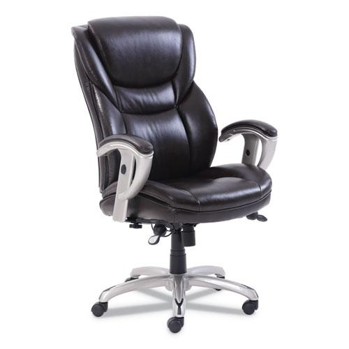 Emerson Executive Task Chair, Supports up to 300 lbs., Brown Seat/Brown Back, Silver Base. Picture 1