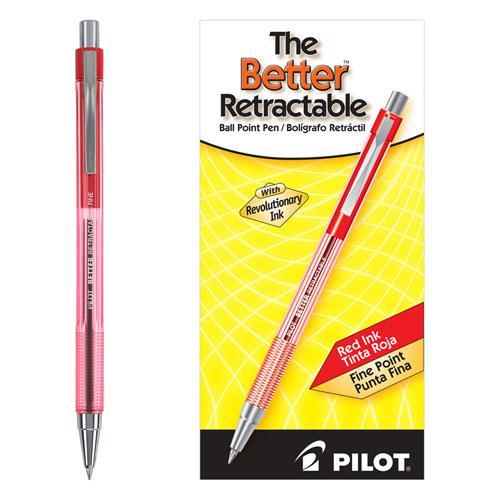 Better Ballpoint Pen, Retractable, Fine 0.7 mm, Red Ink, Translucent Red Barrel, Dozen. Picture 1