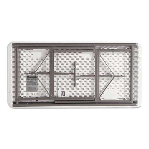 Resin Rectangular Folding Table, Square Edge, 72w x 30d x 29h, Platinum. Picture 4