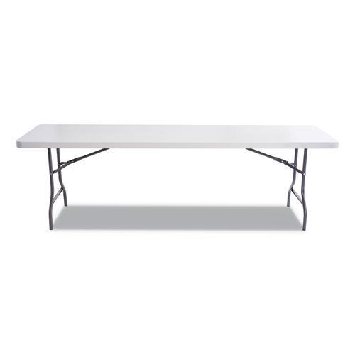 Resin Rectangular Folding Table, Square Edge, 96w x 30d x 29h, Platinum. Picture 2
