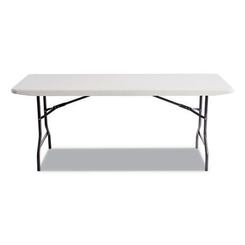 Resin Rectangular Folding Table, Square Edge, 72w x 30d x 29h, Platinum. Picture 2