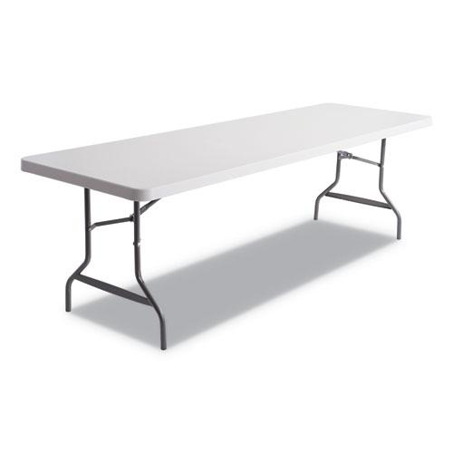 Resin Rectangular Folding Table, Square Edge, 96w x 30d x 29h, Platinum. Picture 1