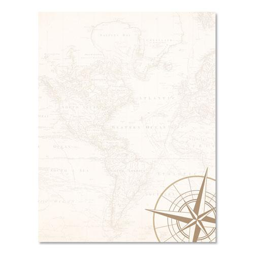 Pre-Printed Paper, 24 lb, 8.5 x 11, Map and Compass, 50/Pack. Picture 2