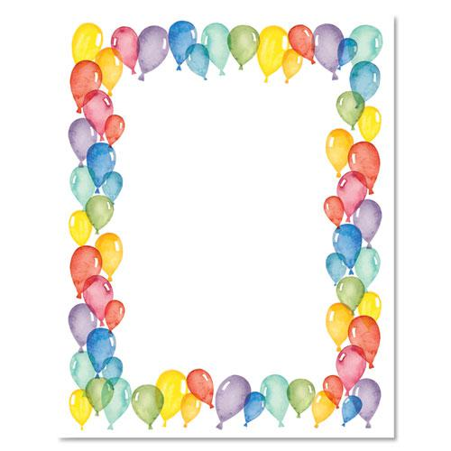 Pre-Printed Paper, 28 lb, 8.5 x 11, Balloons, 100/Pack. Picture 2