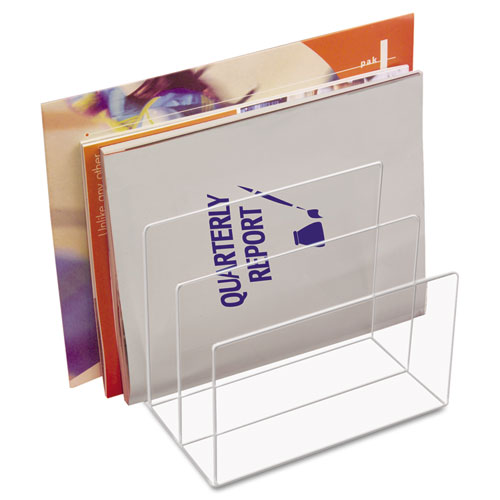 "Clear Acrylic Desk File, 3 Sections, Letter to Legal Size Files, 8"" x 6.5"" x 7.5"", Clear. Picture 1"