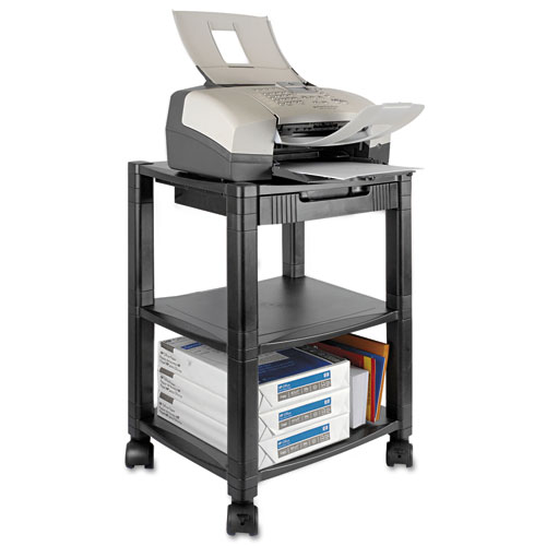 Mobile Printer Stand, Three-Shelf, 17w x 13.25d x 24.5h, Black. Picture 1