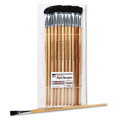 Long Handle Easel Brush, Size 12, Natural Bristle, Flat, 12/Pack. Picture 1