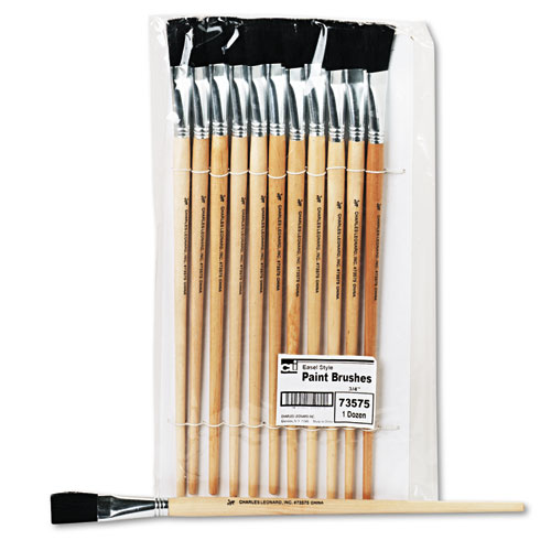 Long Handle Easel Brush, Size 18, Natural Bristle, Flat, 12/Pack. Picture 1