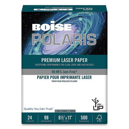 POLARIS Premium Laser Paper, 97 Bright, 3-Hole, 24lb, 8.5 x 11, White, 500/Ream. Picture 1