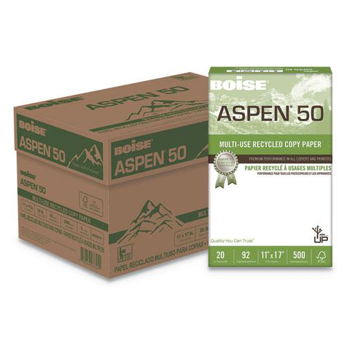 ASPEN 50 Multi-Use Recycled Paper, 96 Bright, 20lb, 11 x 17, White, 500 Sheets/Ream, 5 Reams/Carton. Picture 1