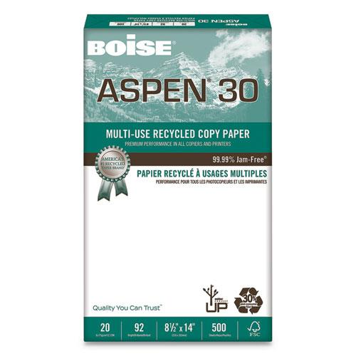 ASPEN 30 Multi-Use Recycled Paper, 92 Bright, 20lb, 8.5 x 14, White, 500 Sheets/Ream, 10 Reams/Carton. Picture 1