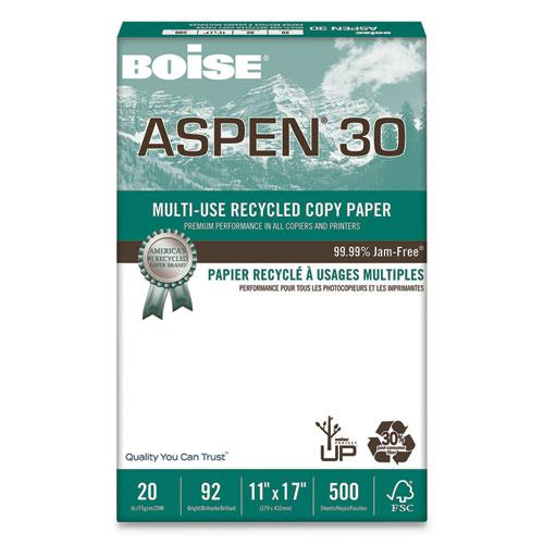 ASPEN 30 Multi-Use Recycled Paper, 92 Bright, 20lb, 11 x 17, White, 500 Sheets/Ream, 5 Reams/Carton. Picture 1
