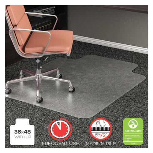RollaMat Frequent Use Chair Mat, Med Pile Carpet, Flat, 36 x 48, Lipped, Clear. Picture 1