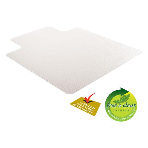 RollaMat Frequent Use Chair Mat, Med Pile Carpet, Flat, 36 x 48, Lipped, Clear. Picture 9