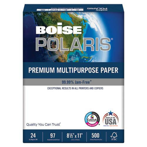 POLARIS Premium Multipurpose Paper, 97 Bright, 24lb, 8.5 x 11, White, 500 Sheets/Ream, 10 Reams/Carton. Picture 1