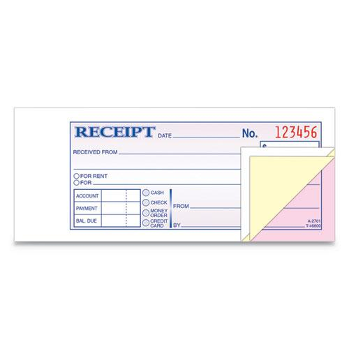 Receipt Book, 2 3/4 x 7 3/16, Three-Part Carbonless, 50 Forms. Picture 2