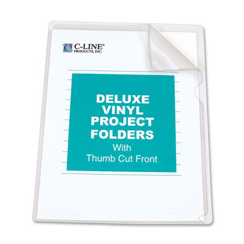 Deluxe Vinyl Project Folders, Letter Size, Clear, 50/Box. Picture 3