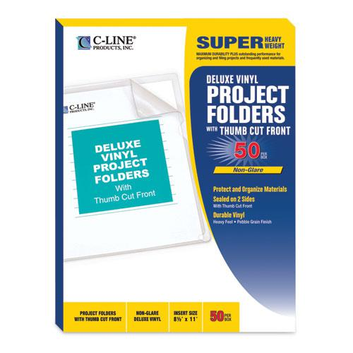 Deluxe Vinyl Project Folders, Letter Size, Clear, 50/Box. Picture 2