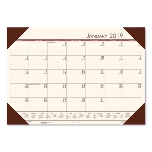 Ecotones Cream Brown Monthly Desk Pad Calendar 18 1 2 X