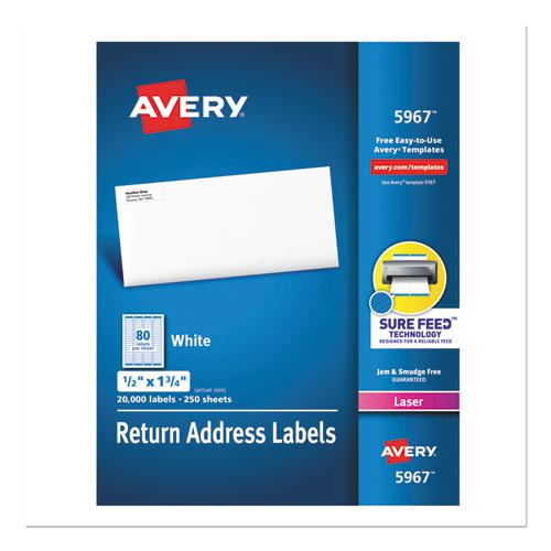 White Address Labels w/ Sure Feed Technology for Laser Printers, Laser Printers, 0.5 x 1.75, White, 80/Sheet, 250 Sheets/Box. Picture 1
