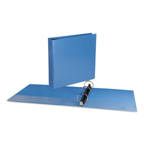 """Deluxe Round Ring View Binder, 3 Rings, 2"""" Capacity, 11 x 8.5, Light Blue. Picture 3"""