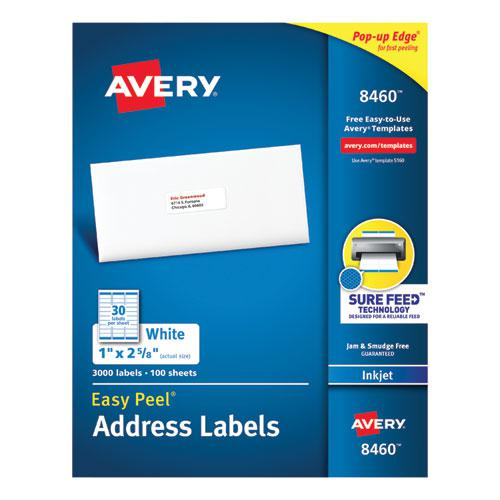 Easy Peel White Address Labels w/ Sure Feed Technology, Inkjet Printers, 1 x 2.63, White, 30/Sheet, 100 Sheets/Box. Picture 1