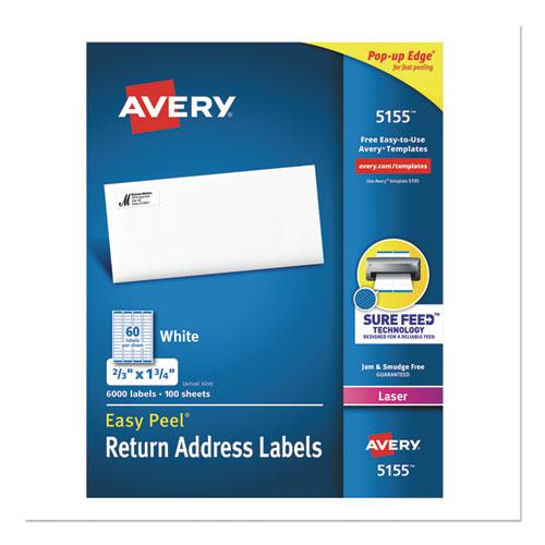Easy Peel White Address Labels w/ Sure Feed Technology, Laser Printers, 0.66 x 1.75, White, 60/Sheet, 100 Sheets/Pack. Picture 1