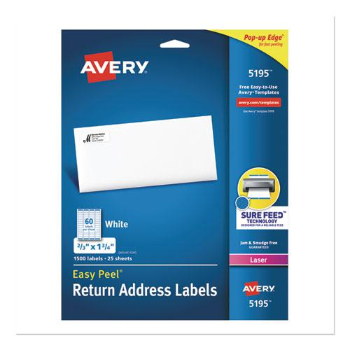 Easy Peel White Address Labels w/ Sure Feed Technology, Laser Printers, 0.66 x 1.75, White, 60/Sheet, 25 Sheets/Pack. Picture 1
