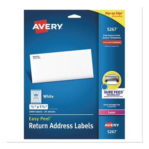 Easy Peel White Address Labels w/ Sure Feed Technology, Laser Printers, 0.5 x 1.75, White, 80/Sheet, 25 Sheets/Pack. Picture 1