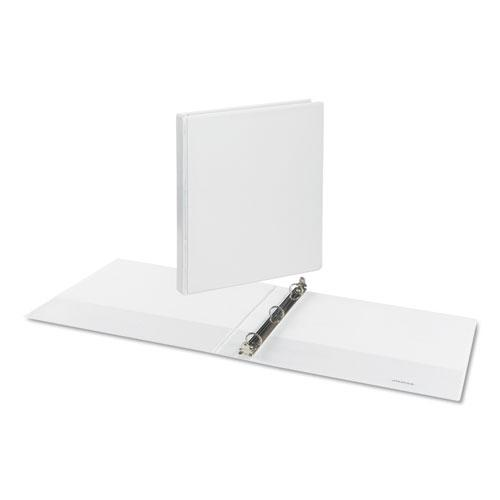 """Deluxe Round Ring View Binder, 3 Rings, 0.5"""" Capacity, 11 x 8.5, White. Picture 3"""