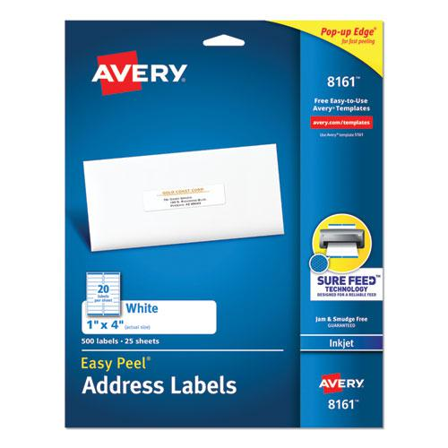 Easy Peel White Address Labels w/ Sure Feed Technology, Inkjet Printers, 1 x 4, White, 20/Sheet, 25 Sheets/Pack. Picture 1