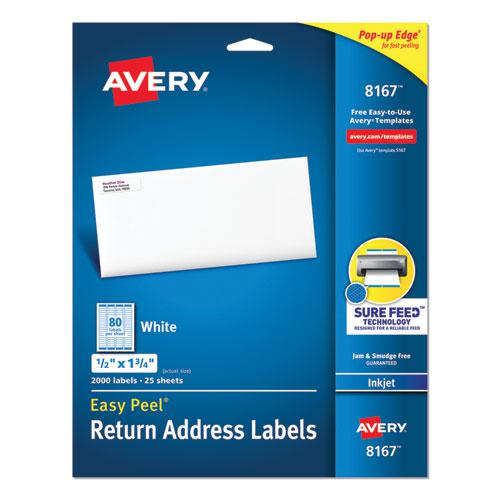 Easy Peel White Address Labels w/ Sure Feed Technology, Inkjet Printers, 0.5 x 1.75, White, 80/Sheet, 25 Sheets/Pack. Picture 1