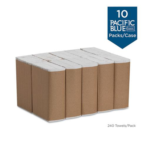 Pacific Blue Basic C-Fold Paper Towels,10 1/10x13 1/5, White, 240/Pack,10 Pks/Ct. Picture 3