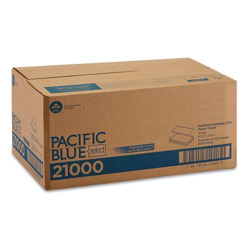 Blue Select Multi-Fold 2 Ply Paper Towel, 9 1/5 x 9 2/5, White,125/PK, 16 PK/CT. Picture 3