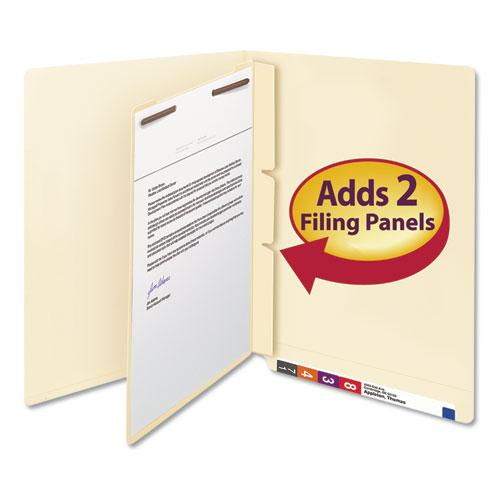 Self-Adhesive Folder Dividers for Top/End Tab Folders w/ 2-Prong Fasteners, Letter Size, Manila, 100/Box. Picture 3