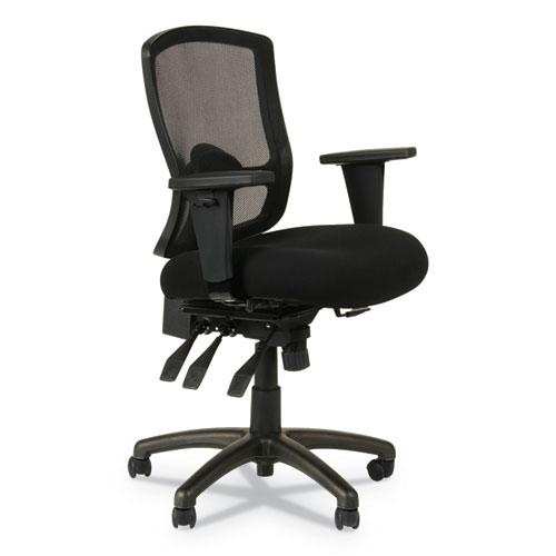 Alera Etros Series Mesh Mid-Back Petite Multifunction Chair, Supports up to 275 lbs, Black Seat/Black Back, Black Base. Picture 1